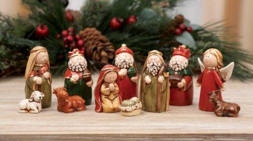 Transpac Imports Dolomite Nativity Figurine Set - Transport Imports