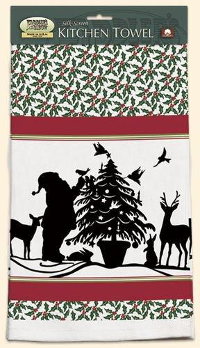 Fiddler's Elbow Santa Holly Kitchen Towel designed by Sharyn Sowell
