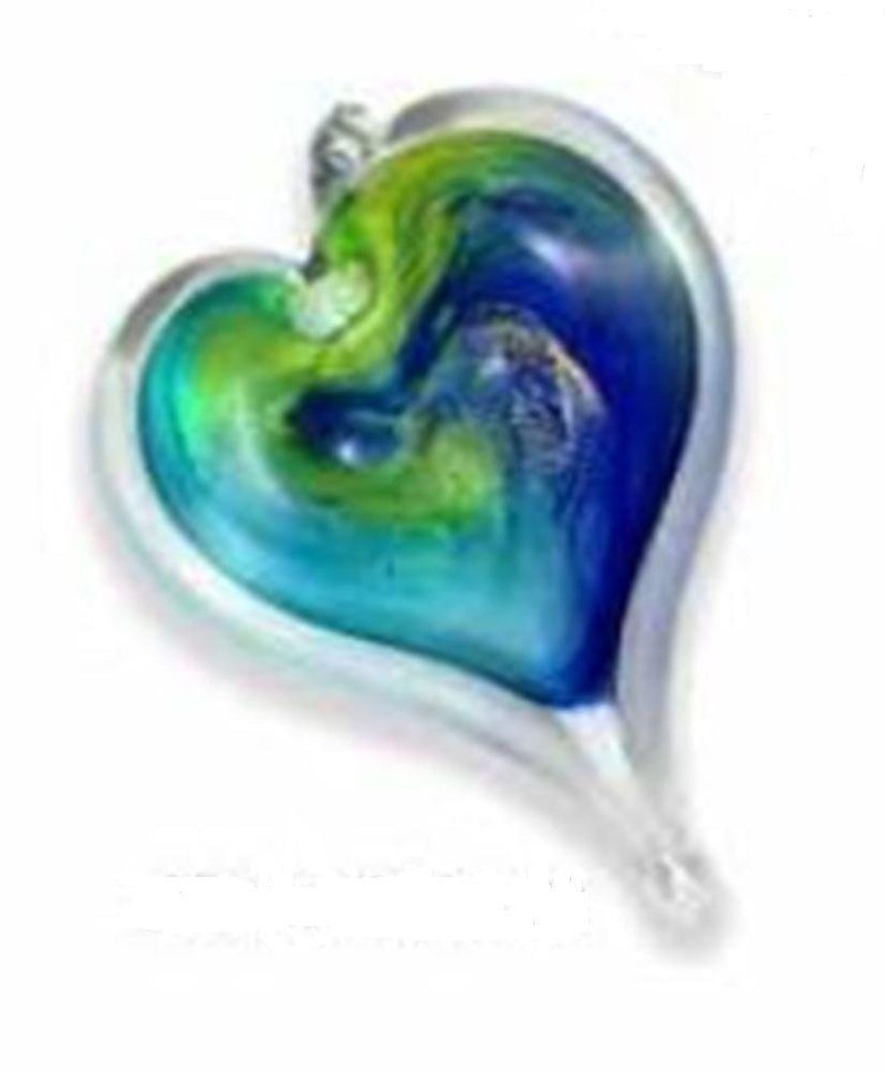 Small Heart by Luke Adams Handblown Glass, Blues, Greens, Yellows, Purples, Turquoise