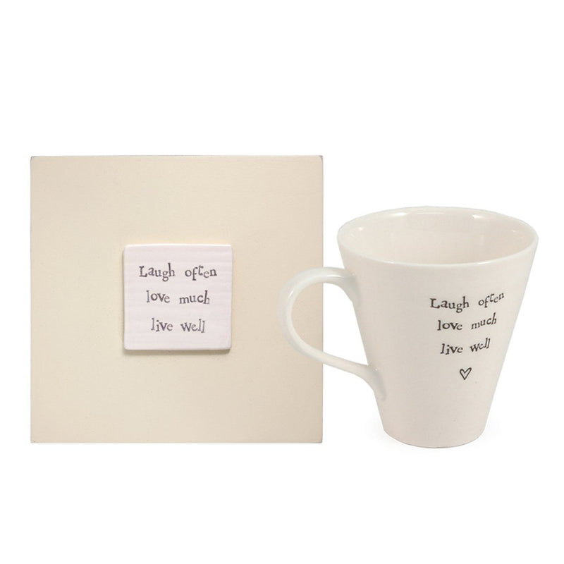 East of India Laugh Often Live Well Mug in Wooden Gift Box, Porcelain/Wood