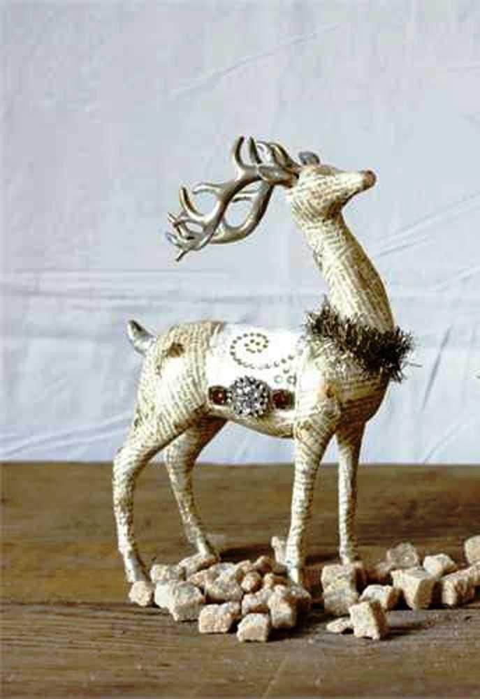 Creative Co-Op Country Christmas Collection Paper Deer Figurine With Tinsel, Gold Color