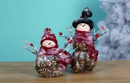 Pinecone Snowman Figurine By Transpac Imports, Set of 2 - Transpac Imports, Inc.
