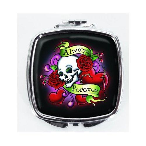 "Compact Makeup Mirror with Skull ""Always / Forever"" Design"