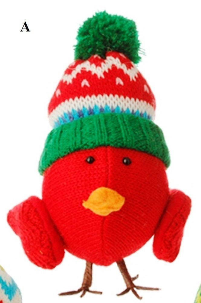 RAZ Merry & Bright Knit Bird Ornament, Choice of Style, A