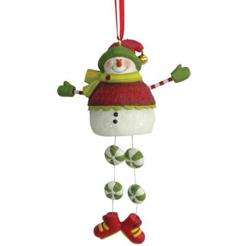 Smiling Snowman Holiday Christmas Ornament With Candy Cane Legs