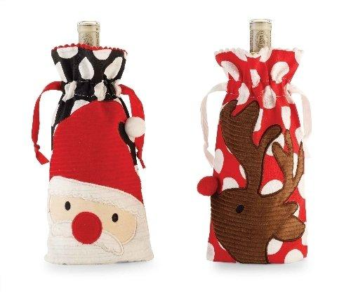 Mud Pie Holiday Christmas Santa and Reindeer Bottle Bags Set of Two