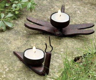 TAG Snail & Dragonfly Tealight Holders, Set of 2