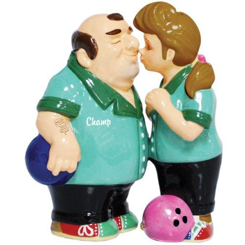 Westland Giftware Mwah Magnetic Bowlers Salt and Pepper Shaker Set, 4-Inch