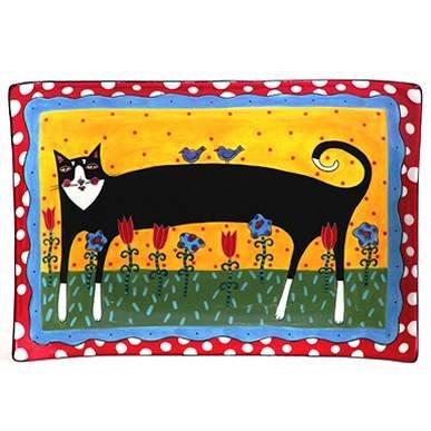 Henriksen Cats In Bloom Large Rectangular Serving Plate