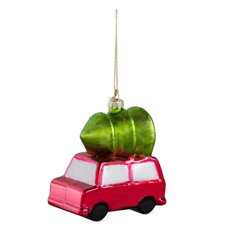 TAG Christmas Collection Vintage Christmas Car and Tree Glass Ornament
