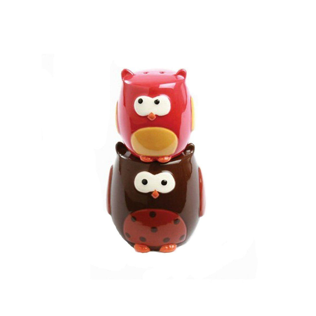 TAG Stacking Owls Hand Painted Earthenware Salt & Pepper Set