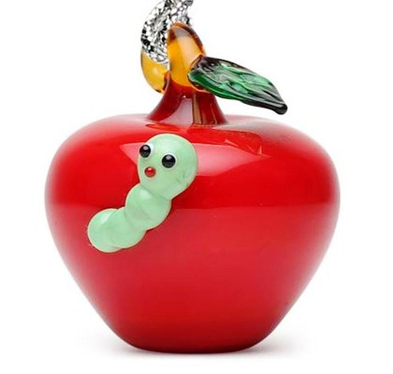 Dynasty Gallery Glassdelights Ornament or Figurine, Apple with Worm - Dynasty Gallery