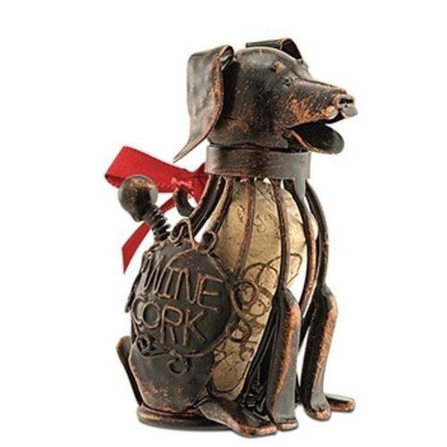 Epic 02-176 Corky the Dog Wire Design Ornament with Ribbon and Wine Corks Inside