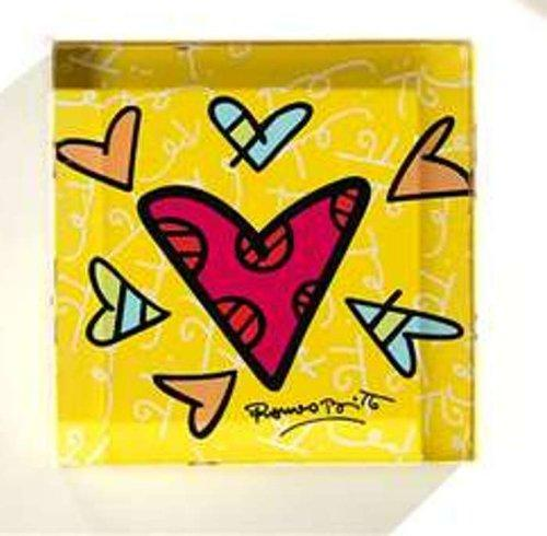 Romero Britto Square Heart Design Paperweight