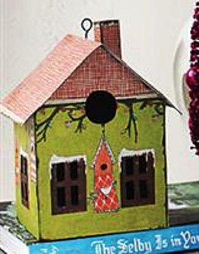Creative Co-op Tin Printed Birdhouse, Green