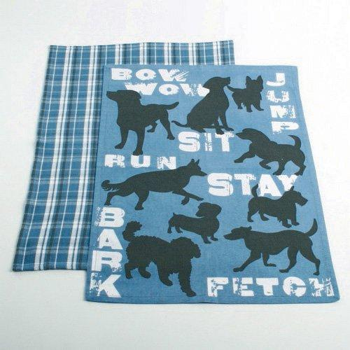 TAG Dog Bow Wow Sit Stay Dishtowel, Set of 2