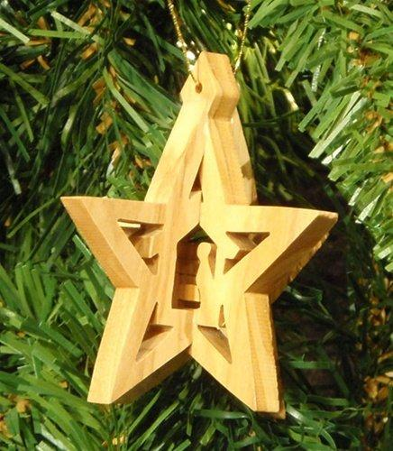 Earth Wood 3-D Star with Stable and Nativity Ornament Made in Bethlehem