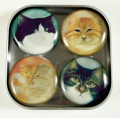 Too Many Cats Refrigerator Magnets Set of 4 by Bottman Design