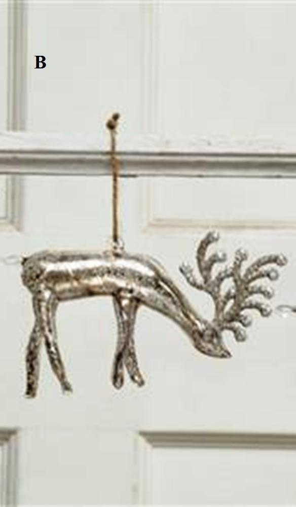 Creative Co-Op Silent Night Collection Mercury Glass Deer Ornament, Choice of Style