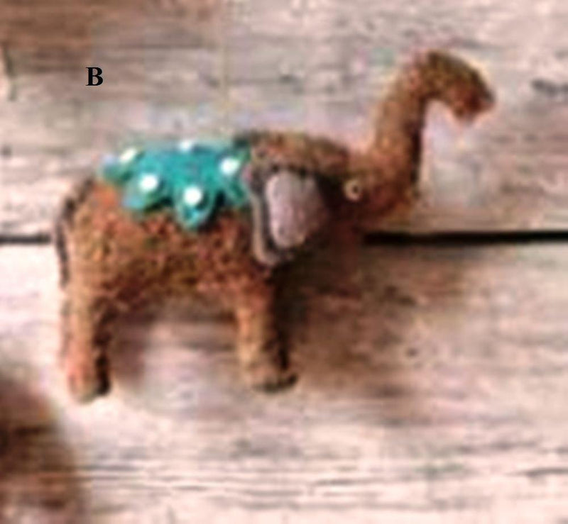 Creative Co-Op Whimsy Collection Felted Wool & Raffia Elephant Ornament, Choice of Style