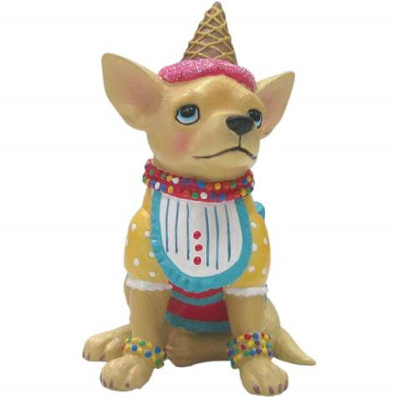 Ice Cream Decorated Tan Aye Chihuahua Mini Figurine