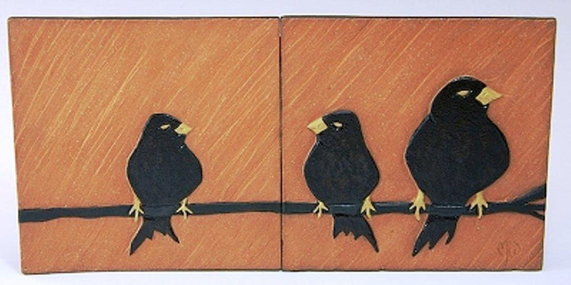 MJ Wilkinson Pottery ''The Party Line'' Stoneware Art Wall Tile