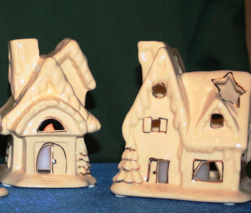 Biedermann & Sons Porcelain Houses Tealight Holders, Set of 2 Ivory with Gold Metallic Trim