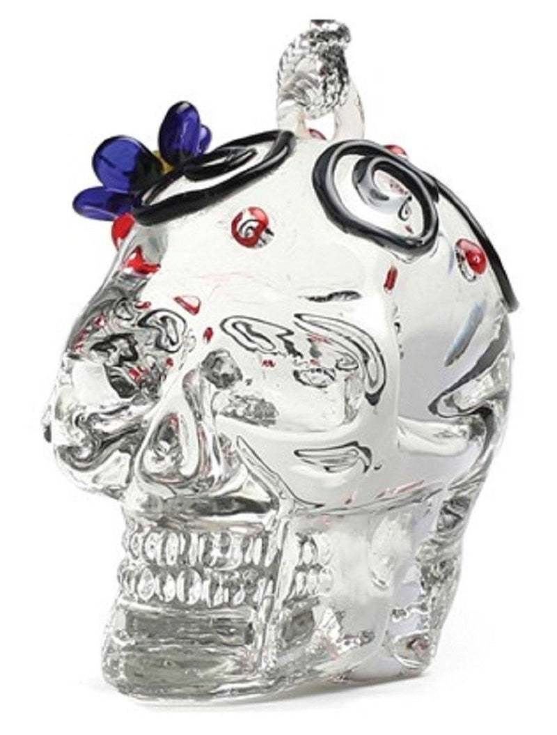 Glassdelights Day Of The Dead Skull With Blue Flower Christmas Ornament - Dynasty Gallery