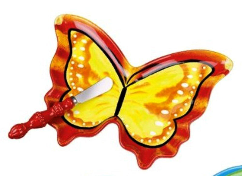 Grasslands Road Hand Painted Butterfly Dessert Plate with Spreader
