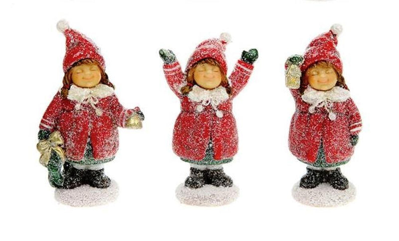 Creative Co-Op Red & White Christmas Collection Resin Girl Figurine, Set of 3, Choice of Color