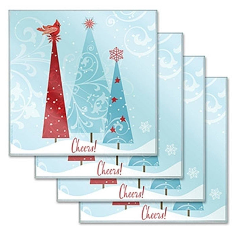 Holiday Themed Christmas Tree 'Cheers!' Design Glass Coasters Set of 4
