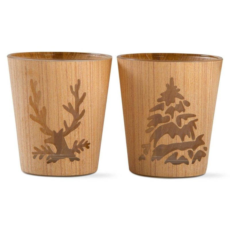 TAG Woodlands, Joy to the World Collection Woodland Tealight Holder, Set of 2