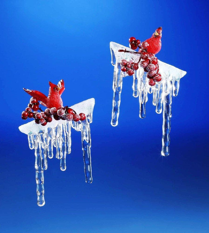 Icy Craft Decorative Cardinal Branch Icicles Figurine, Set of 2 - Icy Craft