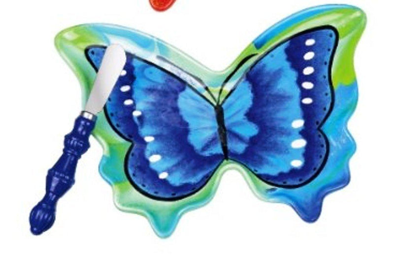 Grasslands Road Hand Painted Butterfly Dessert Plate with Spreader, blue