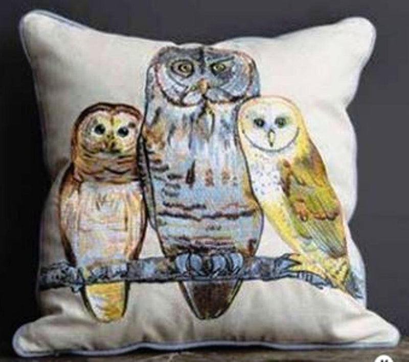 Creative Co-Op Abundant Blessings Collection Square Cotton & Linen Pillow with Owls on Branch