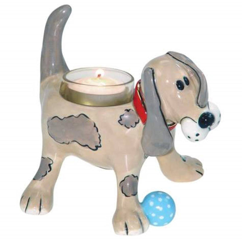 Puppy Love Spotted Happy Puppy Painted Ceramic Tealight Designed By Heather Goldminc
