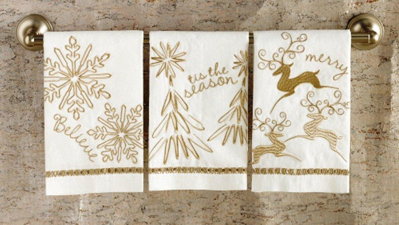 Mud Pie Metalic Linen Hand Towel (Believe) - Mud Pie