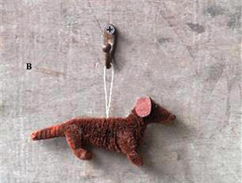 Creative Co-Op Natures Christmas Collection Sisal Dachshund Ornament, Choice of Style