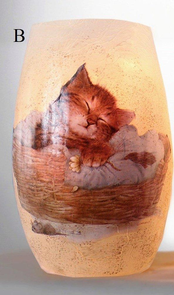 Stony Creek Here Kitty Lighted Glass Vase, Choice of Style