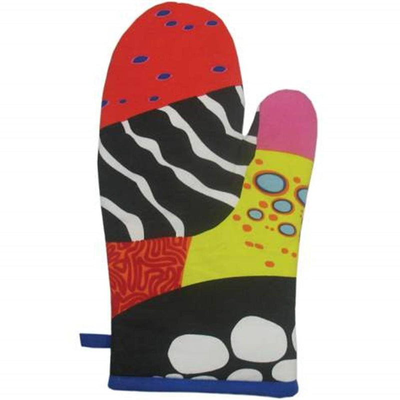 Red and Black Coral Reef Motif Collectible Kitchen Oven Mitt