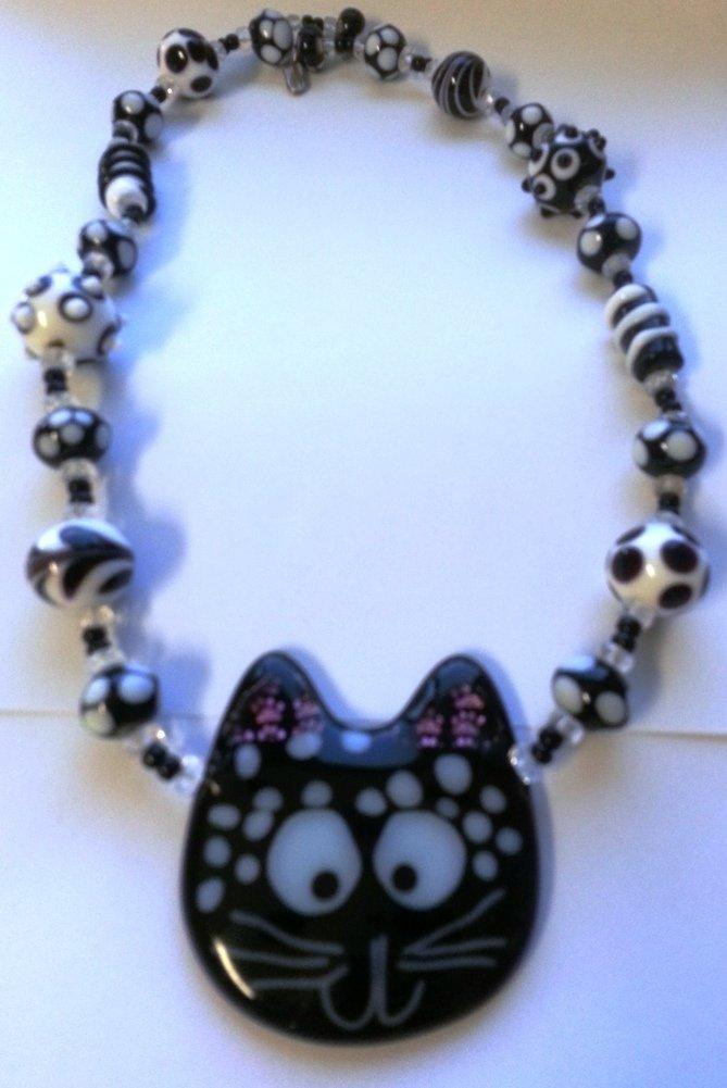 Glass Cat Necklace, Handmade