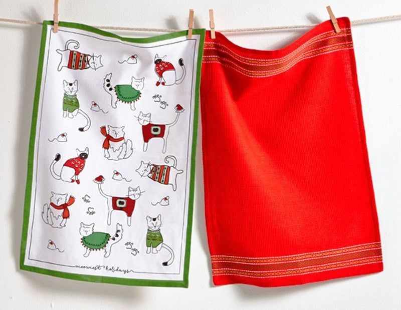 TAG Christmas Collection Holiday Cats Cotton Dishtowel, Set of 2