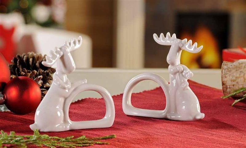 Giftcraft Ceramic Moose Napkin Ring Holders, Set of 4