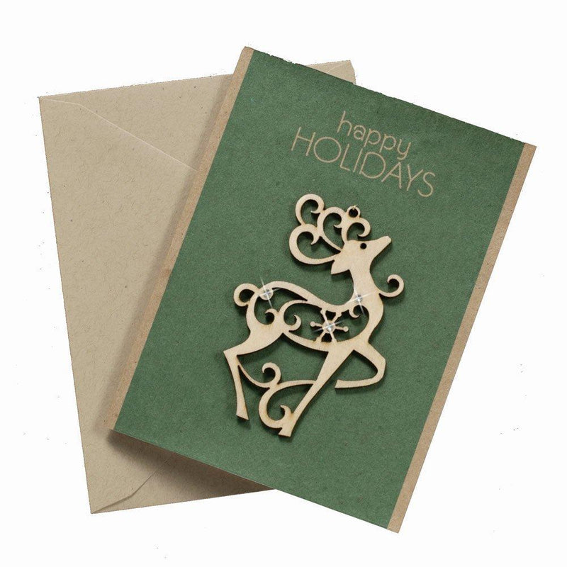 Enesco Flourish Reindeer Greeting Card Hanging Ornament, 3.25-Inch
