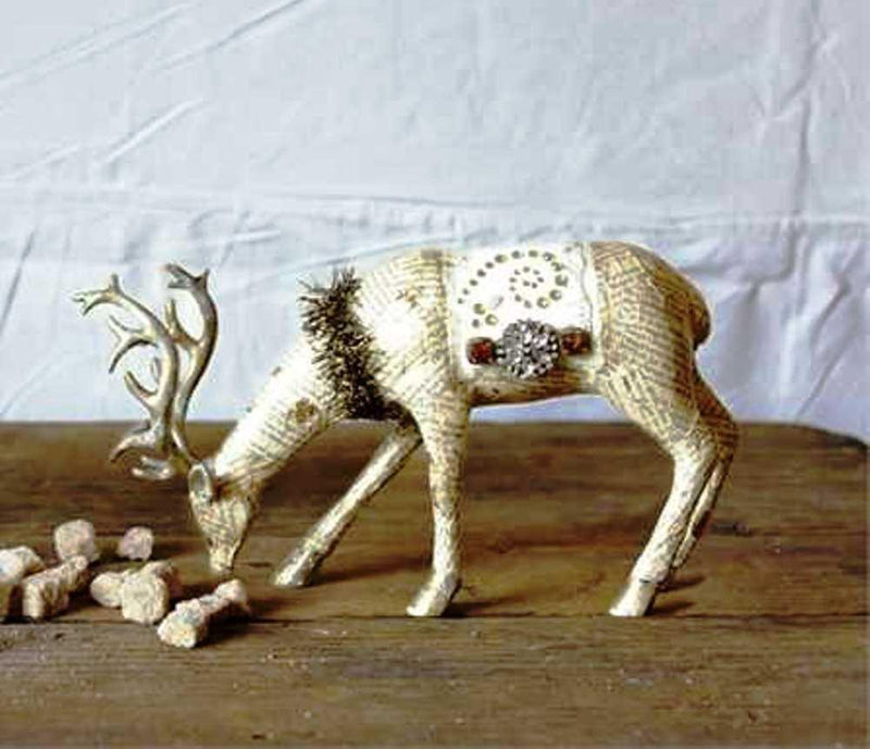 Creative Co-Op Country Christmas Collection Paper Deer Figurine With Tinsel, Gold Color - Creative Co-op