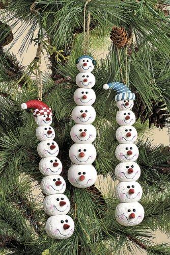 Creative Co-op Kaolin Snowman Head Ornaments, Set of 3