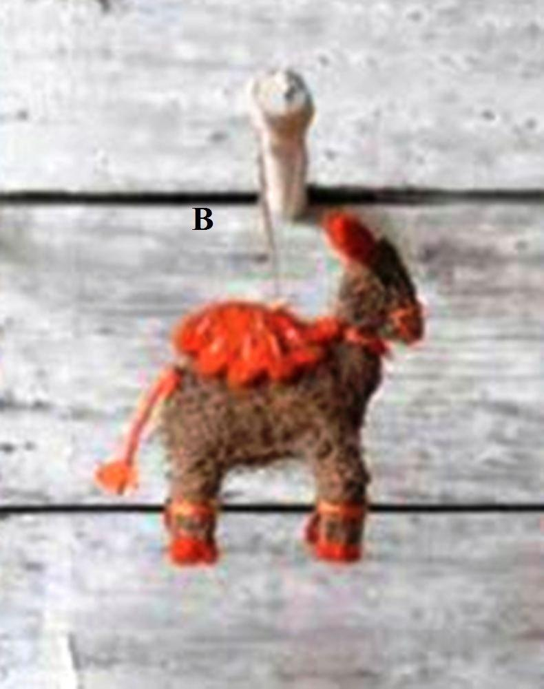 Creative Co-Op Whimsy Collection Felted Wool & Raffia Camel Ornament, Choice of Style