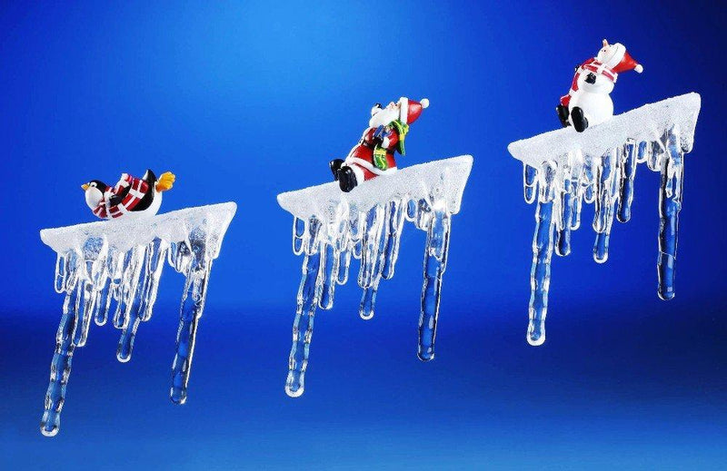 Icy Craft Decorative Sledding Branch Icicles Figurine, Set of 3