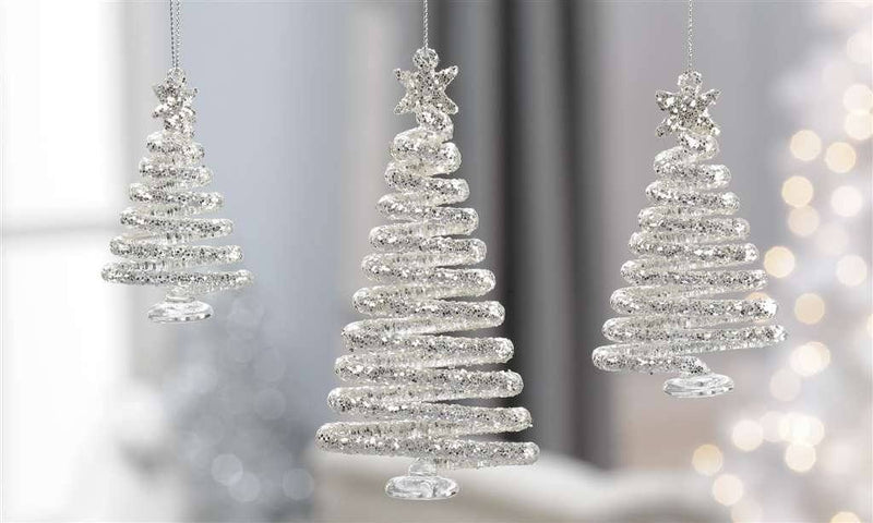 Giftcraft Glass Christmas Tree Ornaments, Set of 3