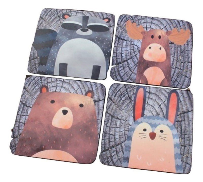 GP Originals Forest Friends Coaster with Tree Rings Background, Set of 4